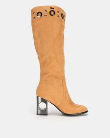 PLUM Block Heel Long Boot Taupe