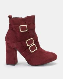 PLUM Kyla Block Heel Ankle Boot Burgundy
