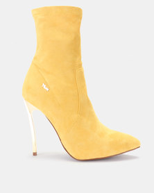 PLUM Honey Sock Ankle Boots Mustard