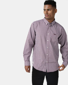 Jeep Long Sleeve Gingham Cotton Shirt Burgundy