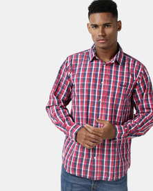 Jeep Long Sleeve Check Cotton Red