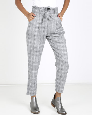 QUIZ Towie Check Paper Bag Trousers Grey