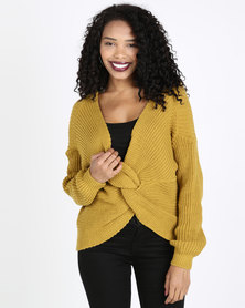 QUIZ Light Knit Crop Knot Jumper Mustard