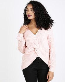 QUIZ Light Knit Crop Knot Jumper Pink