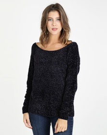 AX Paris Chenille Jumper Blue