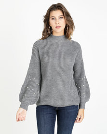 AX Paris Jumper With Pearl Detail Grey