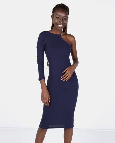 AX Paris One Shoulder Dress With Gold Detail Navy