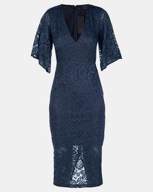 AX Paris Bell Sleeve Lace Dress Blue
