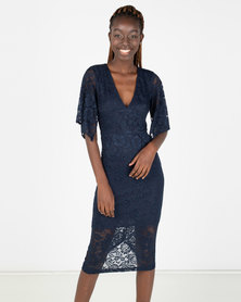 AX Paris Bell Sleeve Lace Dress Blue