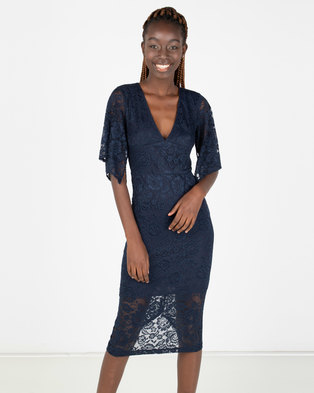 21b5deb4573c1 AX Paris Bell Sleeve Lace Dress Blue