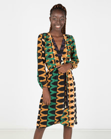 AX Paris Aztec Print Wrap-Style Dress Multi