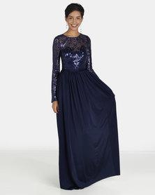 City Goddess London Open Back Long Sleeve Sequin Maxi Dress Navy