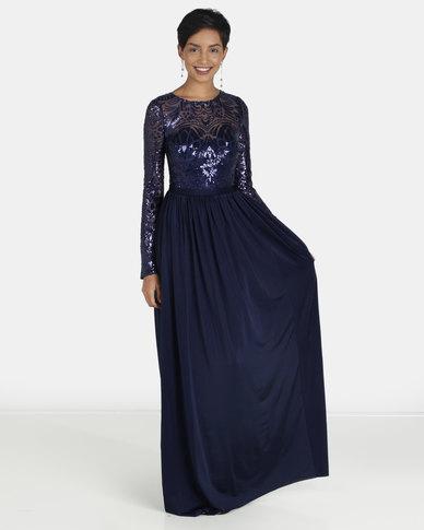 6ae7a3858 City Goddess London Open Back Long Sleeve Sequin Maxi Dress Navy | Zando