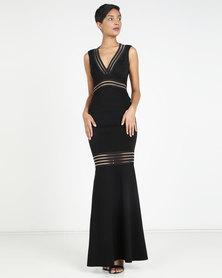 City Goddess London Open Back Elastic Striped Maxi Dress Black