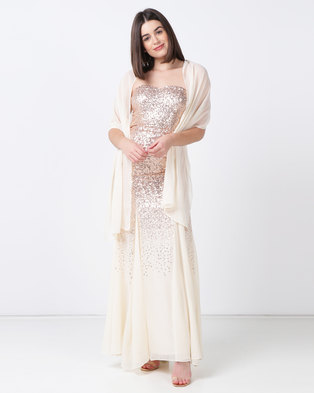 2073b1abdcba1f City Goddess London Bandeau Sequin and Chiffon Maxi Dress with Scarf Rose  Gold Cream