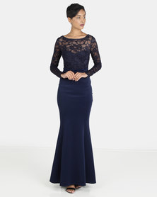 City Goddess London Open Back Lace Maxi Dress with Bow Detail Navy