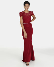 City Goddess London Lace Bodice Maxi Dress with Cap Sleeves Berry