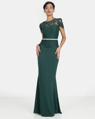 5e7c310842a City Goddess London Lace Bodice Maxi Dress with Cap Sleeves Emerald