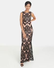 City Goddess London Sleeveless Sequin Embroidered Maxi Dress Black