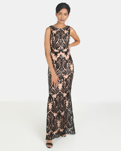 City Goddess London Sleeveless Sequin Embroidered Maxi Dress Black