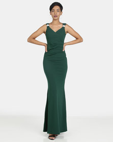 City Goddess London Shoulder Detailed Maxi Dress Emerald