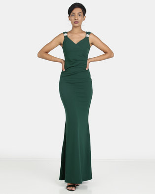 bad82d7dba City Goddess London Shoulder Detailed Maxi Dress Emerald