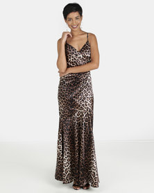 City Goddess London Satin Strappy Leopard Animal Print Maxi