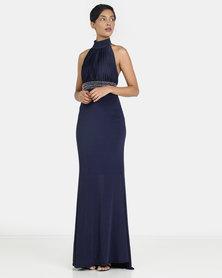 City Goddess London Halter Neck Maxi Dress Navy