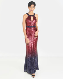 City Goddess London Ombre Halter Neck Sequin Maxi Dress Red