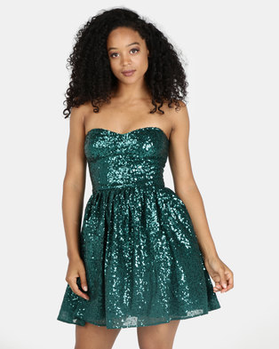 030b1665bf55c9 City Goddess London Sequin and Chiffon Mini Skater Dress Emerald