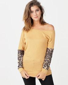 N'Joy Off Shoulder Colourblock Top Mustard & Leopard