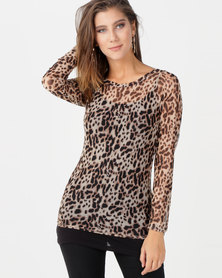 N'Joy Leopard Printed Mesh Top Brown
