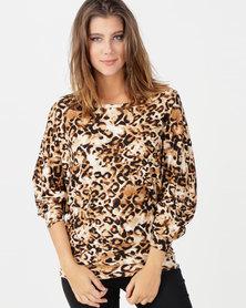 N'Joy 3 Ways To Wear Leopard Top Brown