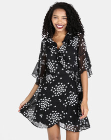 Liquorish Star Print Wrap Dress Black
