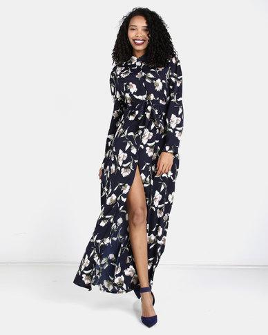 Liquorish Flower Print Maxi Dress Navy