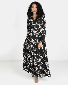Liquorish Flower Print Maxi Dress Black