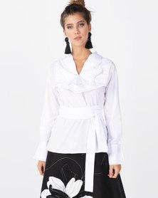 Judith Atelier Lia Cotton 3D Collar Blouse White