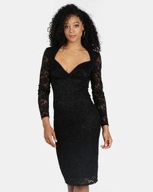 City Goddess London Long Sleeve Crossover Midi Dress Black