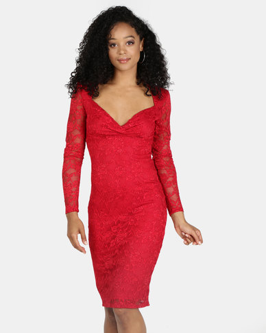 City Goddess London Long Sleeve Crossover Midi Dress Red