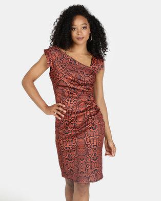 2abd950edfd City Goddess London Snakeprint Midi Dress Terracota