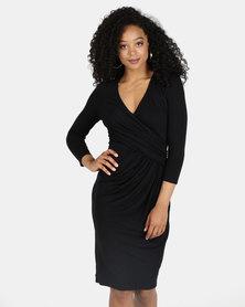 City Goddess London Pleated Wrap Style Midi Dress Black
