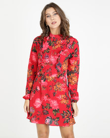 AX Paris Floral Long Sleeve Frill Dress Red