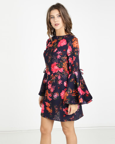 AX Paris Floral Dress With Statement Sleeves Multi