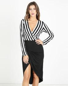 AX Paris Striped Wrap Front Bodycon Dress Black