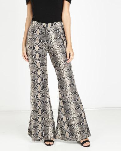 1a52c2d65cf5 AX Paris Snake Print Flared Trousers Multi | Zando