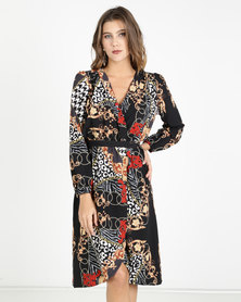 AX Paris Printed V-Neck Wrap Dress Multi