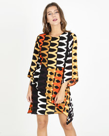 AX Paris Aztec Printed Frill Dress Orange