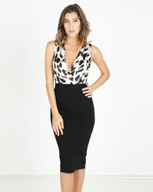AX Paris 2 in 1 Leopard Print Dress Cream/Black