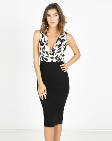 eeeca30c8f6f AX Paris 2 in 1 Leopard Print Dress Cream/Black | Zando