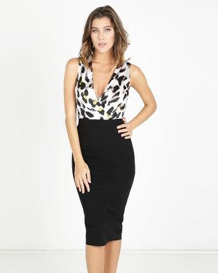 013ebf6ab24 AX Paris 2 in 1 Leopard Print Dress Cream Black